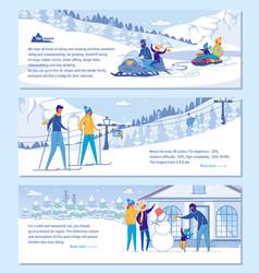 family ski resort hotel advertising set vector image