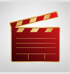 Film clap board cinema sign red icon on vector