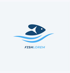 fish logo with waves on white background vector image