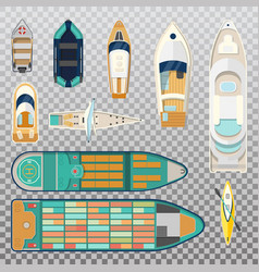 Fisherman boats and wooden sailboat with paddles vector