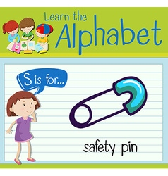 Flashcard letter S is for safety pin vector