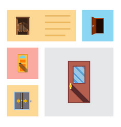 flat icon approach set of exit door saloon and vector image