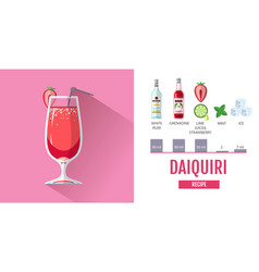 flat style cocktail daiquiri menu design vector image
