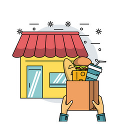 food products and delivery vector image
