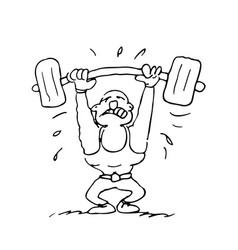 funny fitness guy cartoon outlined cartoon vector image