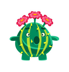 Funny surprised succulent with pink flowers vector