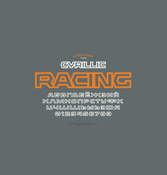 geometric hollow sans serif font in sport style vector image