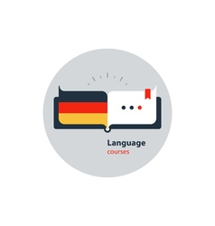 German language courses advertising concept Fluent vector