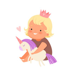 Girl with a plush unicorn on vector