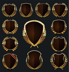 Gold and brown shield and laurel wreath collection vector
