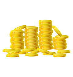 Gold coins cash money in column isolated on white vector
