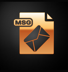 Gold msg file document download msg button icon vector