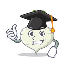 Graduation turnip character cartoon style vector