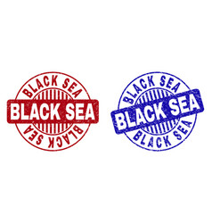 Grunge black sea scratched round stamps vector
