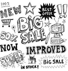 hand-drawn sale doodles vector image