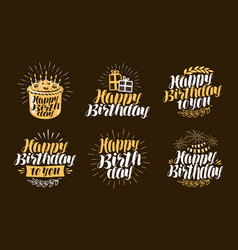 happy birthday label beautiful handwritten vector image