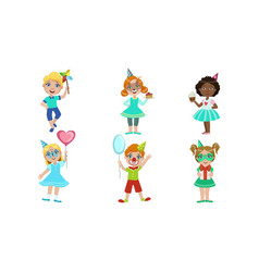 happy boys and girls having fun at birthday party vector image