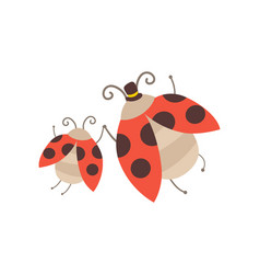happy ladybug family manly ladybug with top hat vector image