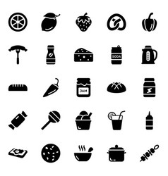 Healthy food and drinks glyph icons pack vector