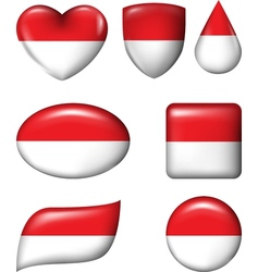 Indonesia and Monaco Flag in various shape glossy vector