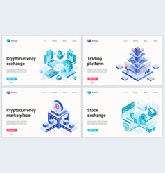 isometric cryptocurrency blockchain technology vector image