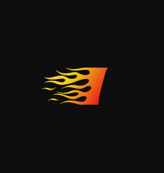 letter i burning flame logo design template vector image