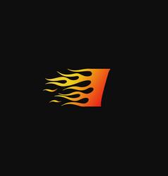 Letter i burning flame logo design template vector