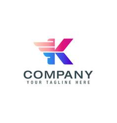 letter k with wing template for logo label emblem vector image