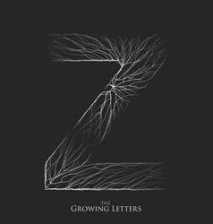 Letter z of branch or cracked alphabet z vector