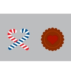 Lollipop sweet cookie dessert vector