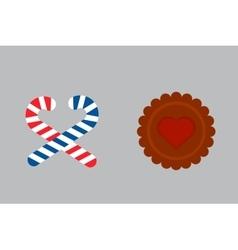 Lollipop sweet cookie dessert vector