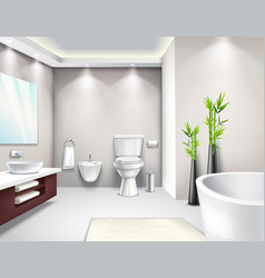 Luxury bathroom interior realistic design vector