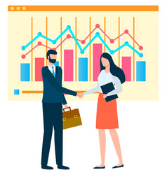 man and woman at work business analytics vector image