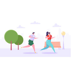 man and woman characters running in the park vector image
