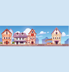 Medieval german street with half-timbered houses vector