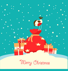 Merry christmas card with holiday presents on vector