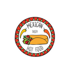 Mexican burrito food doodle symbol round shape vector