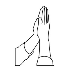 monochrome contour of hands together for praying vector image