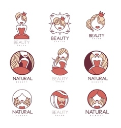 Natural Beauty Salon Set Of Hand Drawn Cartoon vector image