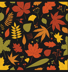 natural seamless pattern with fallen leaves and vector image