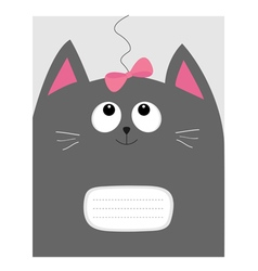 Notebook cover Composition book template Gray cat vector image