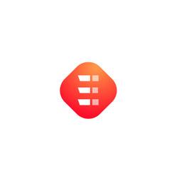 orange e white icon alphabet letter logo shape vector image