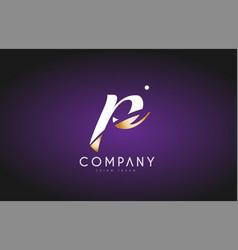 P alphabet letter gold golden logo icon design vector