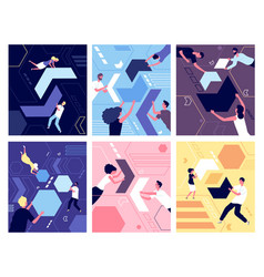 People and geometric shapes puzzle collection vector