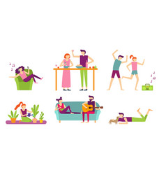 People recreation at home young couple spending vector