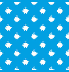 pig money pattern seamless blue vector image