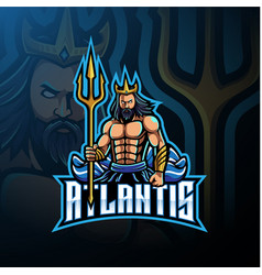 poseidon mascot logo design with trident weapon vector image