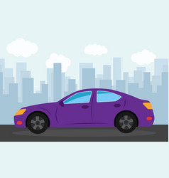 purple sports car vector image