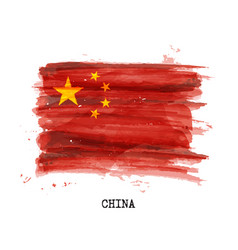 Realistic watercolor painting flag china vector