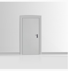 Realistic White Wall with Door vector